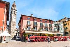 People enjoying Street Restaurant on famous lake promenade at Ascona, Switzerland Royalty Free Stock Photography