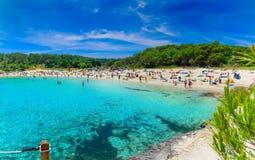 S Amarador beach of Mallorca. People enjoying summer holiday on S Amarador beach of Mallorca, island of Spain Royalty Free Stock Photo