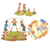 People Enjoying Summer Vacations Set, Happy Boys Playing Soccer on Sport Field, Family Sunbathing on Beach, Boys Resting stock illustration