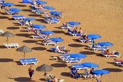 People enjoying the sun on Albufeira Beach Stock Images