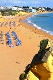 People enjoying the sun on Albufeira Beach Royalty Free Stock Photo