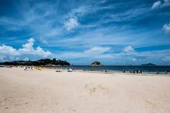 People enjoying sun shine at beach at sunny afternoon stock photo