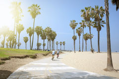 People enjoying a sunny day on the beach of Venice, California Royalty Free Stock Photography