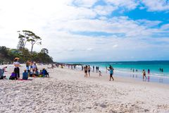 People enjoying the sunny weather at Hyams Beach, NSW, Australia stock photo