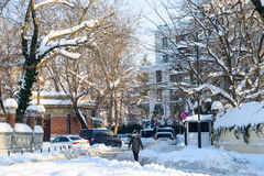 People Enjoying Sunny Winter Day Following A Strong Snow Storm In Downtown Bucharest City Royalty Free Stock Photography