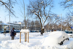 People Enjoying Sunny Winter Day Following A Strong Snow Storm In Downtown Bucharest City Royalty Free Stock Images