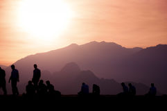 People enjoying sunset. Royalty Free Stock Photos