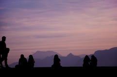 People enjoying sunset. Stock Photo