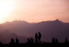 People enjoying sunset. Royalty Free Stock Photo