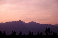 People enjoying sunset. Royalty Free Stock Photo