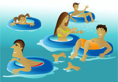 People enjoying a swimming pool stock illustration