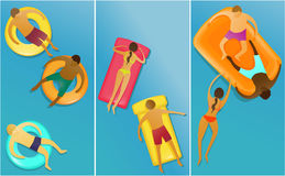 People enjoying swimming. Three banners with people enjoying swimming Stock Photo