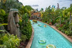 People enjoying TeAwa The Fearless River at Volcano Bay in Universal Studios area 2