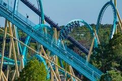 People enjoying terrific Kraken rollercoaster at Seaworld in International Drive area  2 stock photography