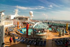 Pool deck on a luxury cruise ship stock photo