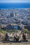 People enjoying the view of Barcelona from the Bunker Carmel viewpoint Royalty Free Stock Photos