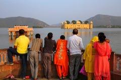 People enjoying view of Jal Mahal and Man Sagar Lake in Jaipur, Royalty Free Stock Images