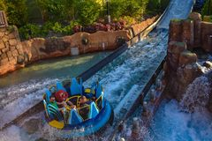 People enjoying water attraction Infinity Falls at Seaworld in International Drive area. stock photos