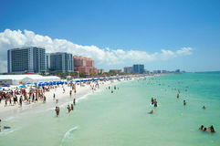 People enjoying water and beach and skyline in Clearwater Beach Florida, Spring Break. April 23, 2017 Stock Image