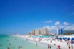People enjoying water and beach and skyline in Clearwater Beach Florida, Spring Break. April 23, 2017 Royalty Free Stock Photography