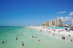 People enjoying water and beach and skyline in Clearwater Beach Florida, Spring Break. April 23, 2017 Royalty Free Stock Photos