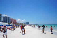 People enjoying water and beach and skyline in Clearwater Beach Florida, Spring Break. April 23, 2017 Royalty Free Stock Image