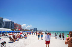 People enjoying water and beach and skyline in Clearwater Beach Florida, Spring Break. April 23, 2017 Stock Photos