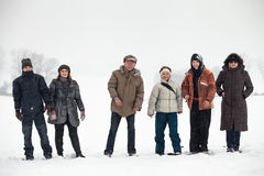 People enjoying winter and snow Stock Images