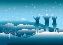 People enjoying winter trip in Colorado mountains. stock illustration