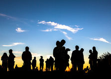 People enjoys the sunrise on the top of Merbabu volcano in Indonesia Royalty Free Stock Images