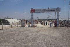 People enter the Akcakale Syrian  refugee camp Stock Image