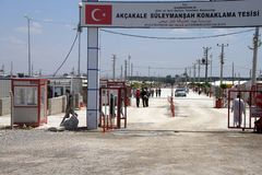 People enter the Akcakale Syrian  refugee camp Royalty Free Stock Images