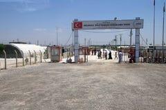 People enter the Akcakale Syrian  refugee camp Stock Photography