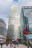 People enter Canary Wharf tube station in London's Docklands Stock Photos