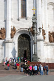 People enter and leave Christ the Redeemer Church in Moscow Stock Photos
