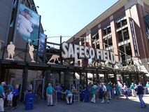 People enter into Left Field Gate to Safeco Field Stock Images
