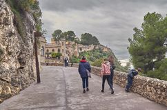 People are entering the castle of Xativa in Spain royalty free stock images