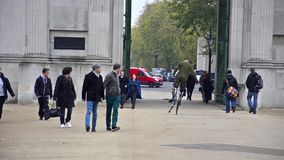 People and entertainers at Hyge park corner, London stock footage