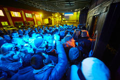 People at entrance of Arma Music Hall. MOSCOW - NOV 23: People at entrance of Arma Music Hall before beginning of Arash show, November 23, 2012, Moscow, Russia Royalty Free Stock Photo