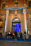 People at the entrance to Brera Fine Arts Academy during the fashion week. Royalty Free Stock Photos