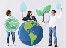 People with environment and recycling icons royalty free stock images