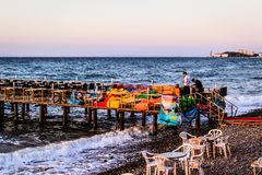 People And Environment Of Turkish Seaside Town Royalty Free Stock Photos