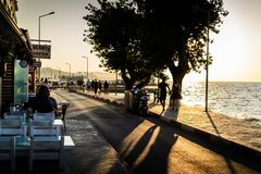 People And Environment Of Turkish Seaside Town Stock Photos