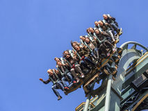 People enyoing the new Baron 1898 rollercoaster ride stock photo