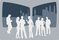 People enyoing nightlife. Casual dressed people enyoing nightlife in a sky bar stock illustration