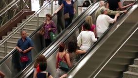 People on escalator stock footage