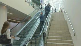 People at escalator stock video footage