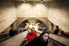 People on escalators Royalty Free Stock Image