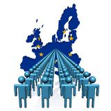 People with EU map flag. Lines of people with EU map flag illustration Stock Photography