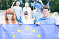 People with european union flag Stock Images